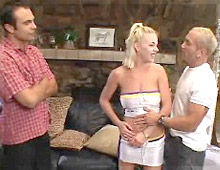 Two guys nail this busty blonde's throat